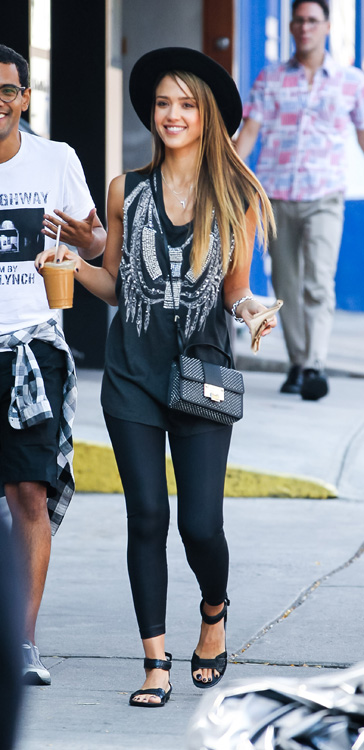 Jessica Alba carries a studded Jimmy Choo bag in NYC (2)