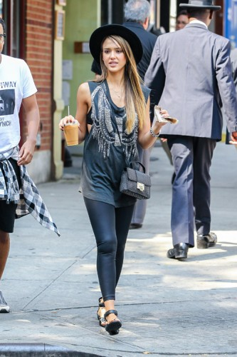 Jessica Alba carries a studded Jimmy Choo bag in NYC (4)