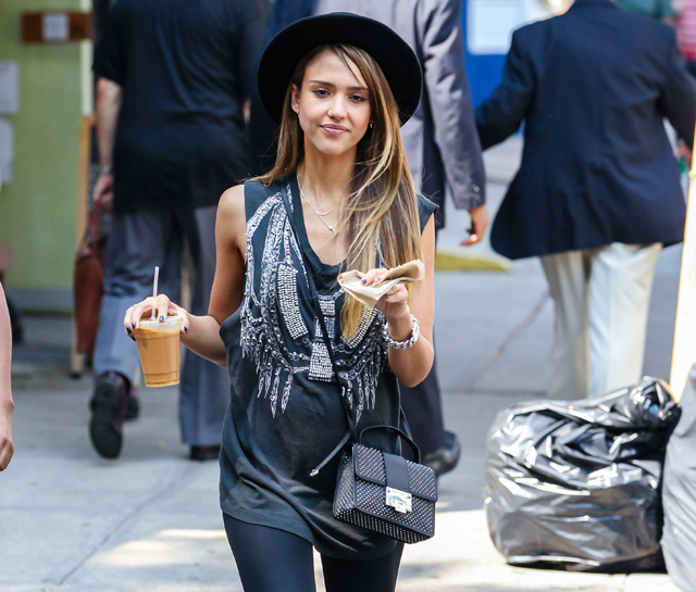 Jessica Alba carries a studded Jimmy Choo bag in NYC (5)