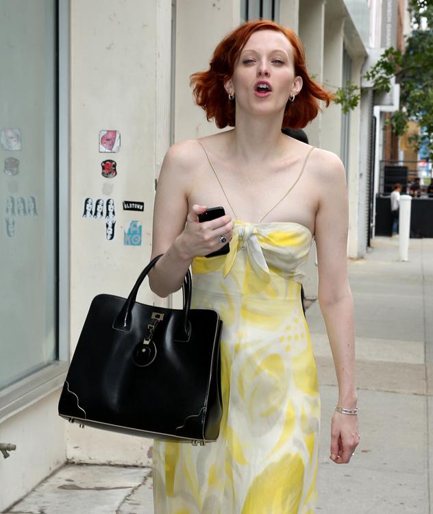 Fashion model Karen Elsen leaves the Rodarte fashion show in New York City