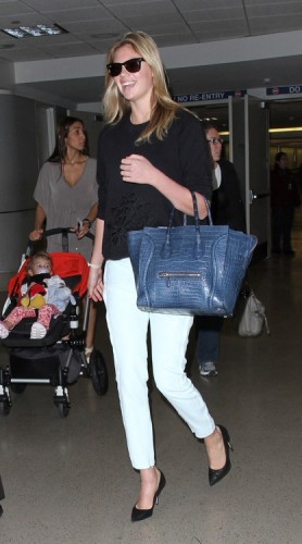 Kate Upton carries a Celine Crocodile Luggage Tote in NYC (2)