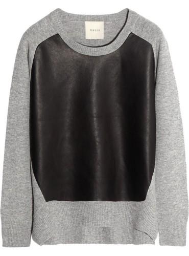 Maison by Michelle Mason Leather-Paneled Sweater