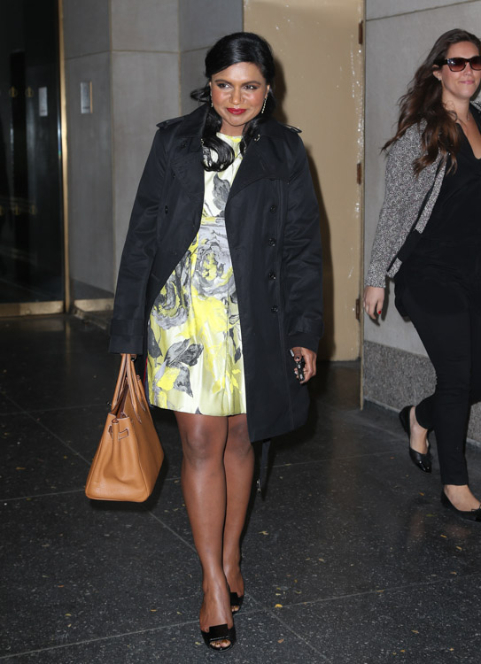 Mindy Kaling carries a tan Hermes Birkin in NYC (2)