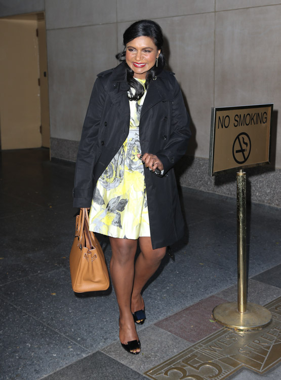 Mindy Kaling carries a tan Hermes Birkin in NYC (4)