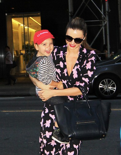 Miranda Kerr carries a blue Celine Luggage Tote in NYC (2)