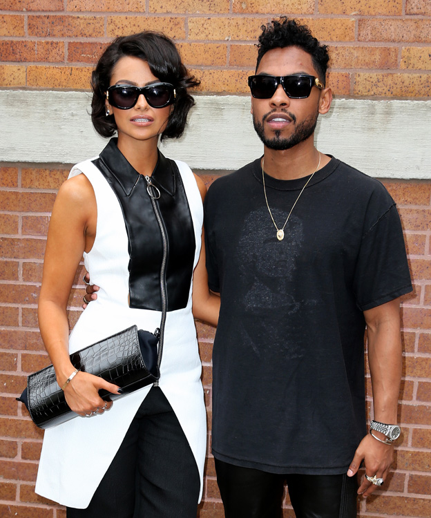 Singer Miguel Pimental and his model girlfriend Nazanin Mandi leave the Rodarte fashion show in New York City