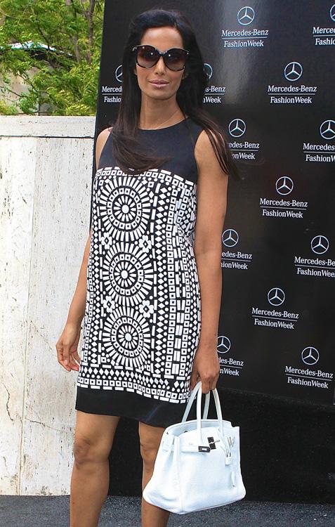 Padma Lakshmi smiles as she arrives for New York Fashion Week