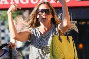 Sarah Jessica Parker Looks Grumpy with the Paparazzi, Pleased with Her New Louis Vuitton Bag
