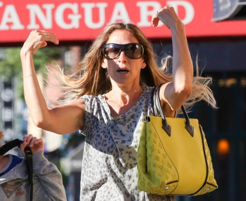 Sarah Jessica Parker carries a yellow Louis Vuitton bag in NYC (5)