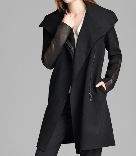 Vince Asymmetric Mock Neck Coat