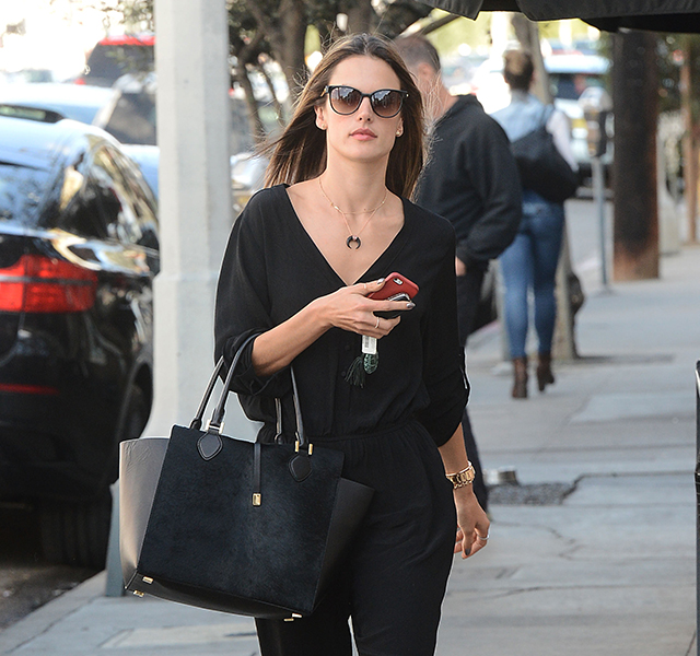 9df79a5be85e Alessandra Ambrosio Pairs All-Black Everything with an All-Black Michael  Kors Bag