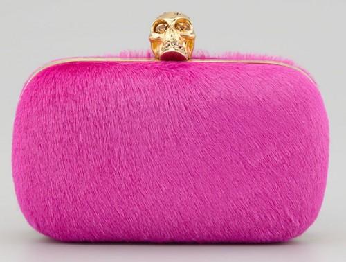 Alexander McQueen Classic Pink Calf Hair Skull-Clasp Clutch