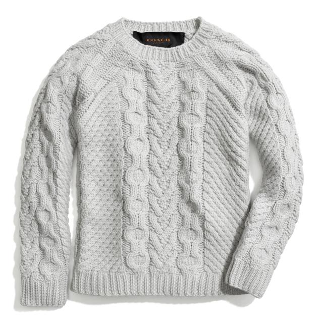 Coach Handknit Aran Crewneck Sweater