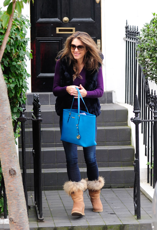 elizabeth hurley goes affordable with a bright michael