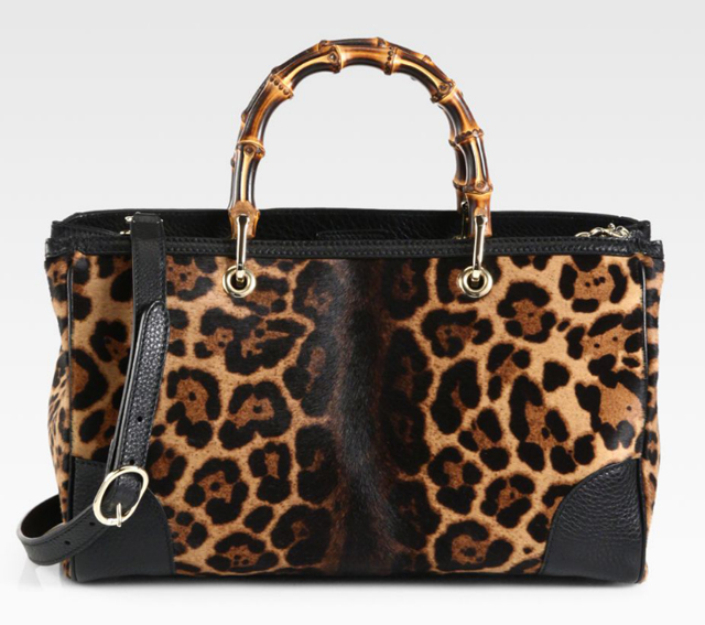 Gucci Bamboo Shopper Jaguar Print Tote