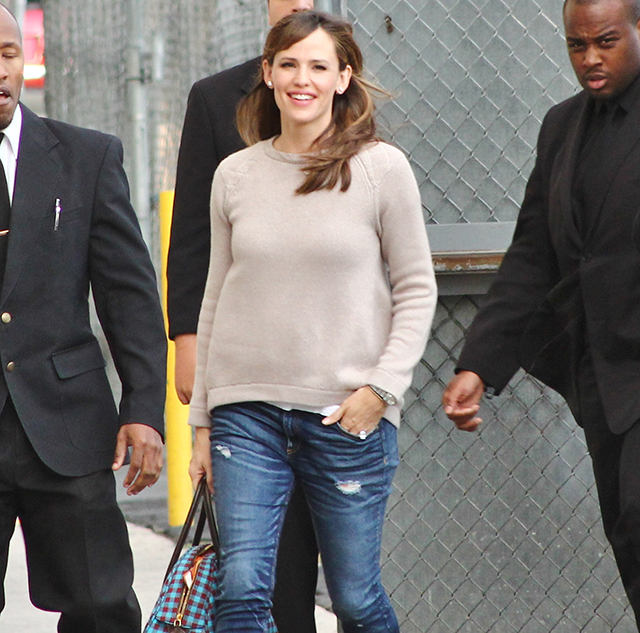Jennifer Garner carries a check-print Prada bag in LA (5)