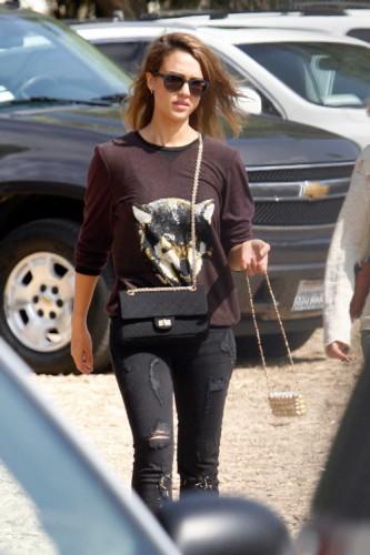 Jessica Alba carries a black Chanel bag at the Mr. Bones Pumpkin Patch (3)
