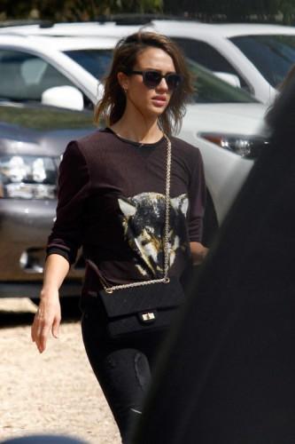 Jessica Alba carries a black Chanel bag at the Mr. Bones Pumpkin Patch (2)