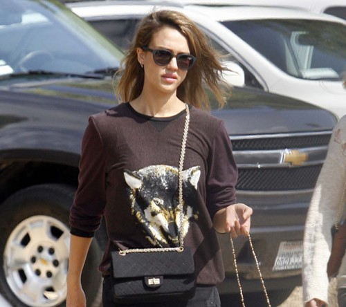 Jessica Alba carries a black Chanel bag at the Mr. Bones Pumpkin Patch (5)