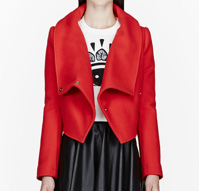 Kenzo Vermillion Red Wool Cropped Jacket
