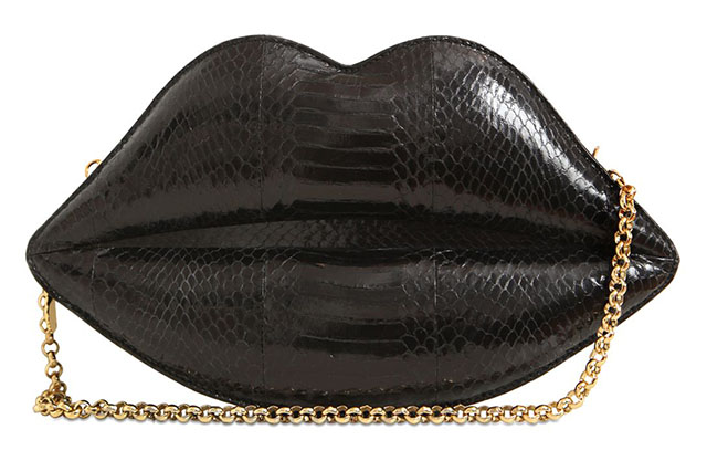 Lulu Guinness Large Lip Snakeskin Shoulder Bag