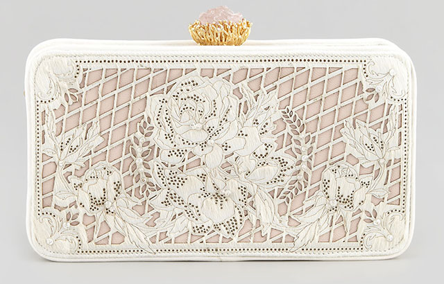Marchesa Isabella Laser Cut Calf Hair Clutch