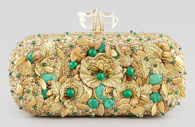 Marchesa Lily Floral Embroidered Box Clutch