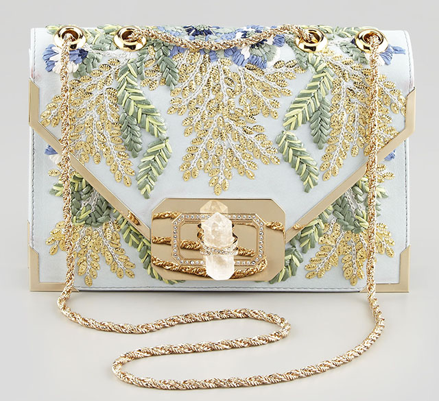 Marchesa Valentino Blue Floral Envelope Clutch
