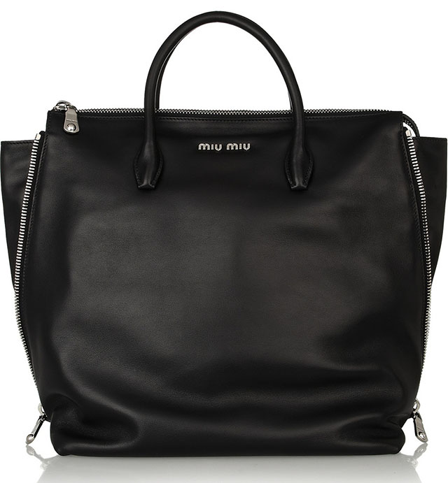 Miu Miu Zip Detailed Leather Tote