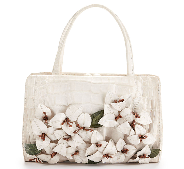 Nancy Gonzalez Floral Applique Crocodile Satchel