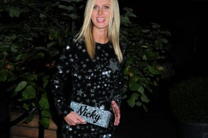 Nicky Hilton carries a customized Edie Parker glitter clutch in NYC (5)