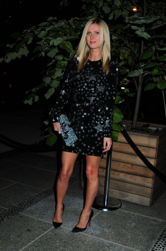Nicky Hilton carries a customized Edie Parker glitter clutch in NYC (4)