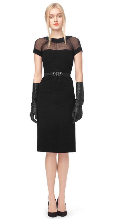 Oscar de la Renta Crepe Sleeve Sweetheart Slim Dress
