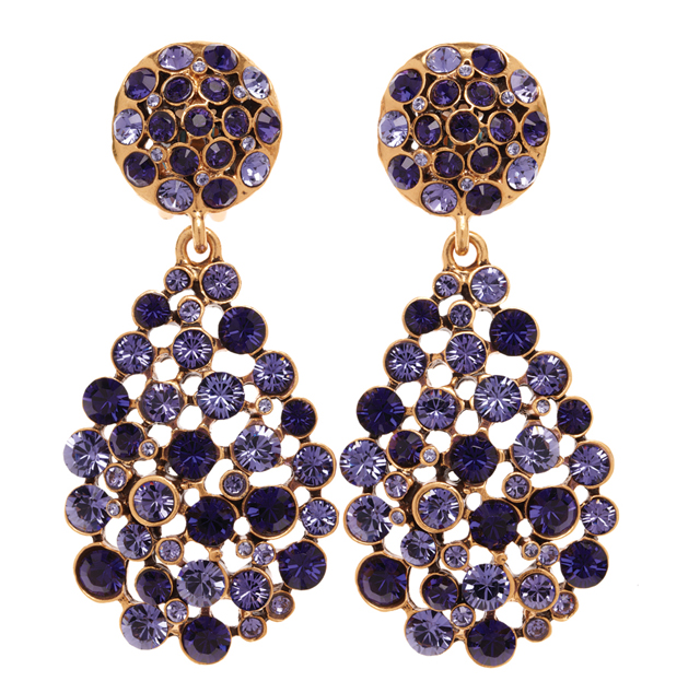 Oscar de la Renta Pave Teardrop Earrings