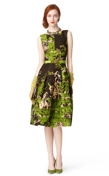Oscar de la Renta Sleeveless Boat Neck Dress