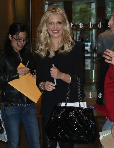 Sarah Michelle Gellar carries a black Chanel tote bag in NYC (2)