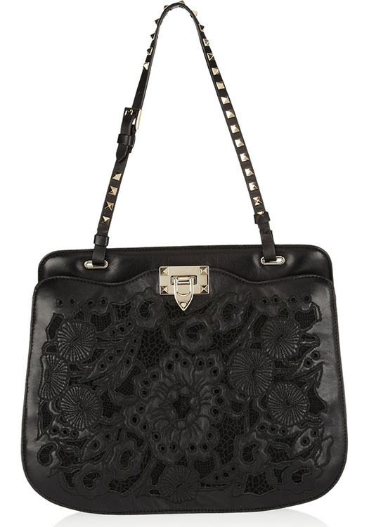 Valentino Lace-Effect Rockstud Bag