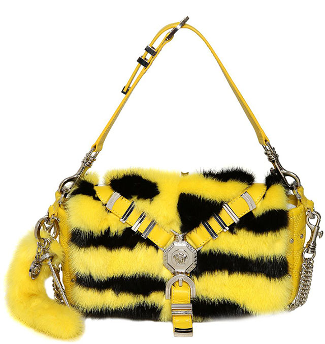 versace chelsea mink and leather shoulder bag - Halloween Handbag