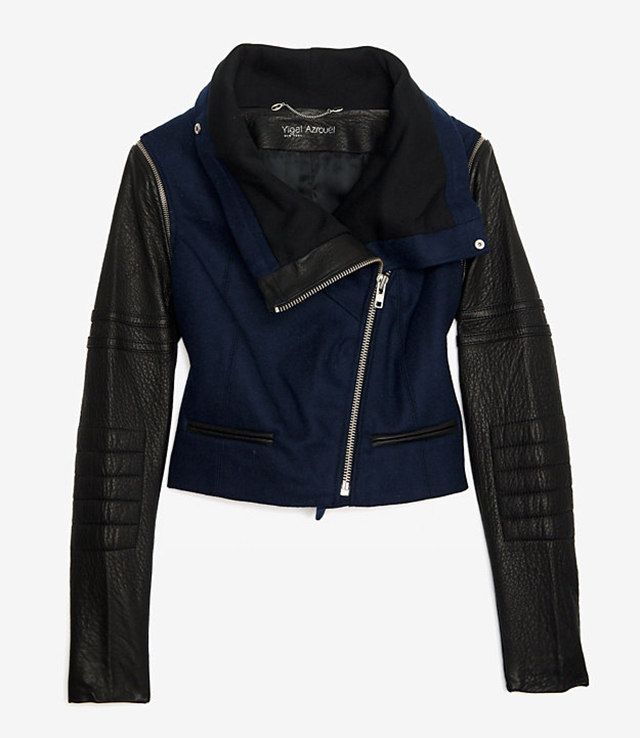 Yigal Azrouel Leather Wool Motorcycle Jacket