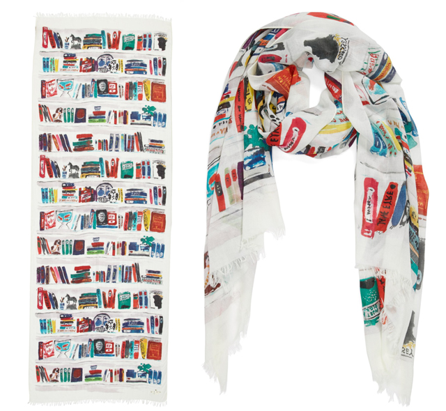 kate spade new york 'library illustration' scarf