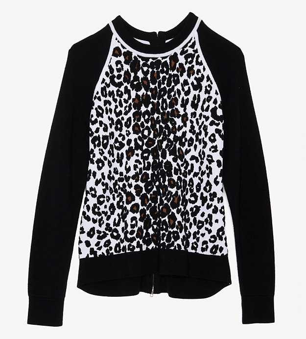 ALC Contrast Knit Sleeve Leopard Sweater