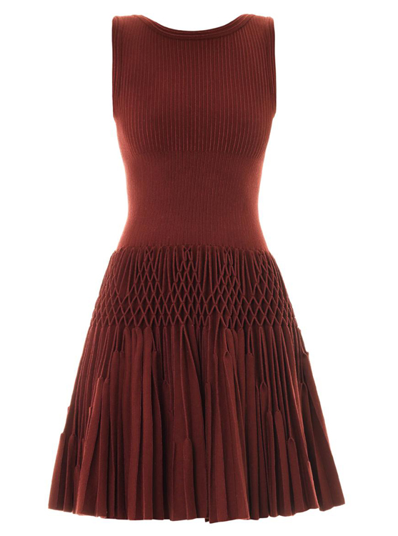 Alaia Plisse Abeille Wool Dress