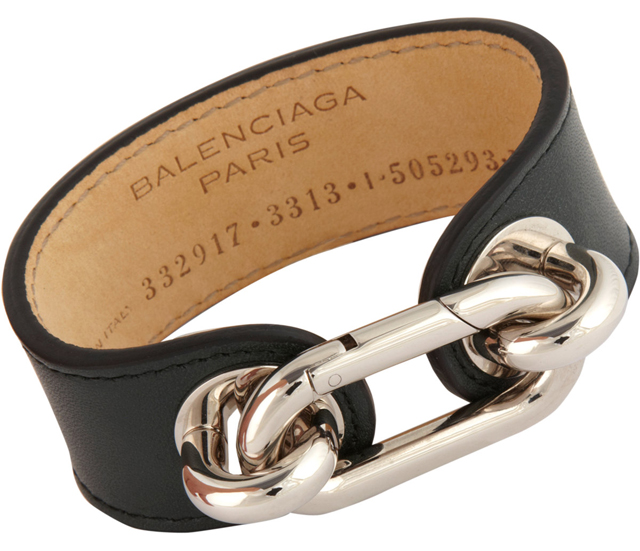 Balenciaga Palladium and Leather Medallion Cuff