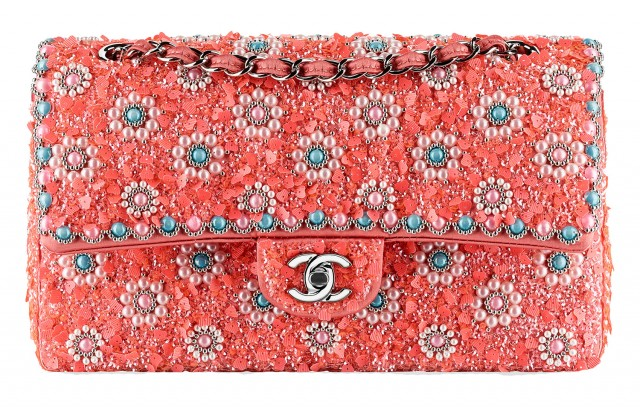 Chanel Beaded Classic Flap Bag Pink