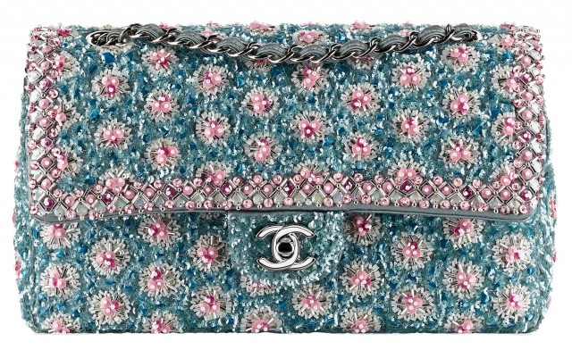 Chanel Beaded Flap Bag Blue