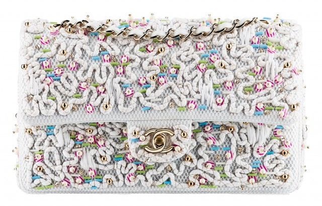Chanel Beaded Flap Bag White