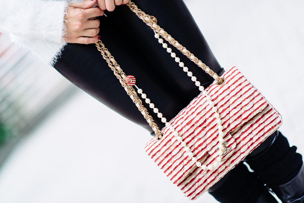 Chanel Flapbag in Fabric/Pearl/Metal