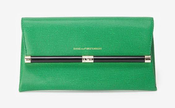 Diane von Furstenberg Embossed Lizard Envelope Clutch