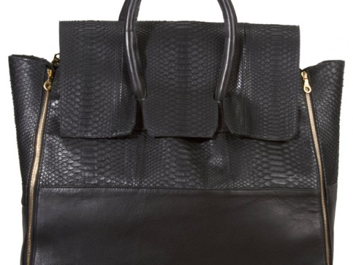 En Noir Snakeskin Travel Bag