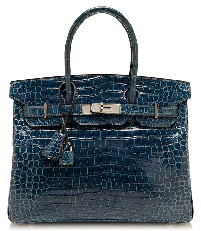 Hermes Shiny Blue Roi Porosus Crocodile Birkin Bag